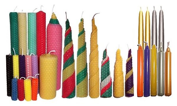 beeswax candles and solid colour candles various colours and sizes