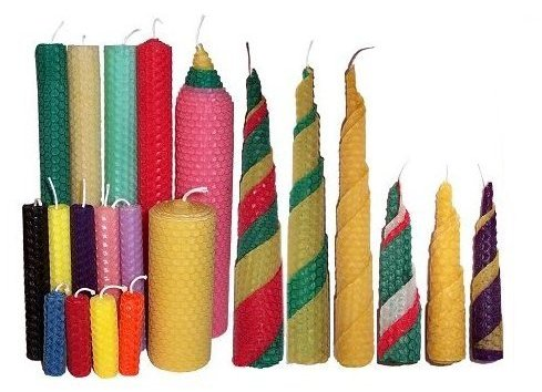 beeswax candles various colours and sizes