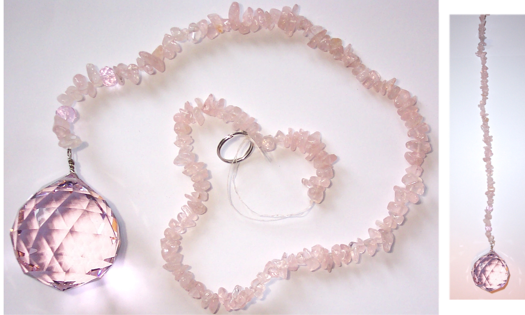 Pink Crystal Sphere (40mm) with Rose Quartz Tail