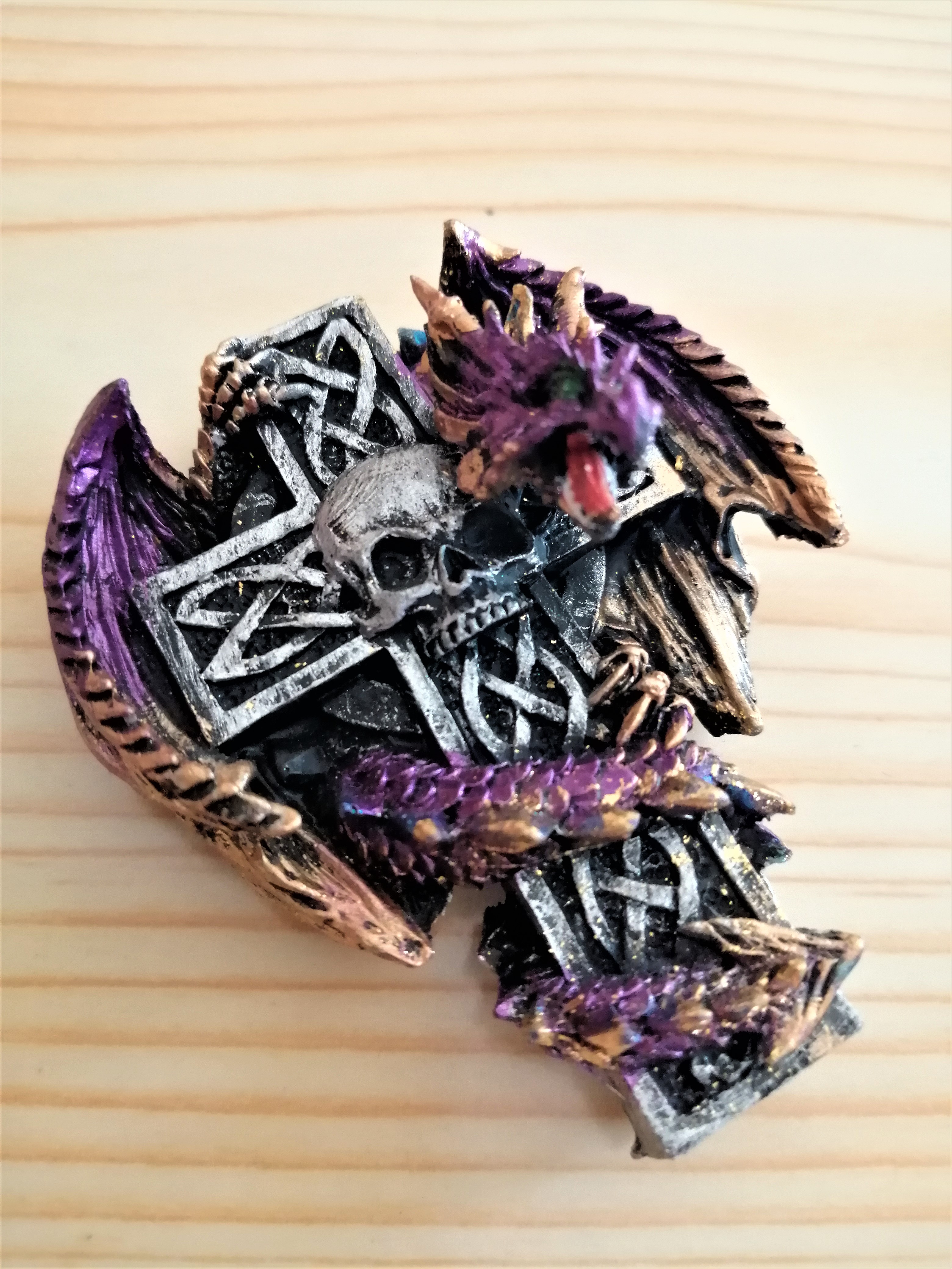 Purple Dragon on Cross Fridge Magnet