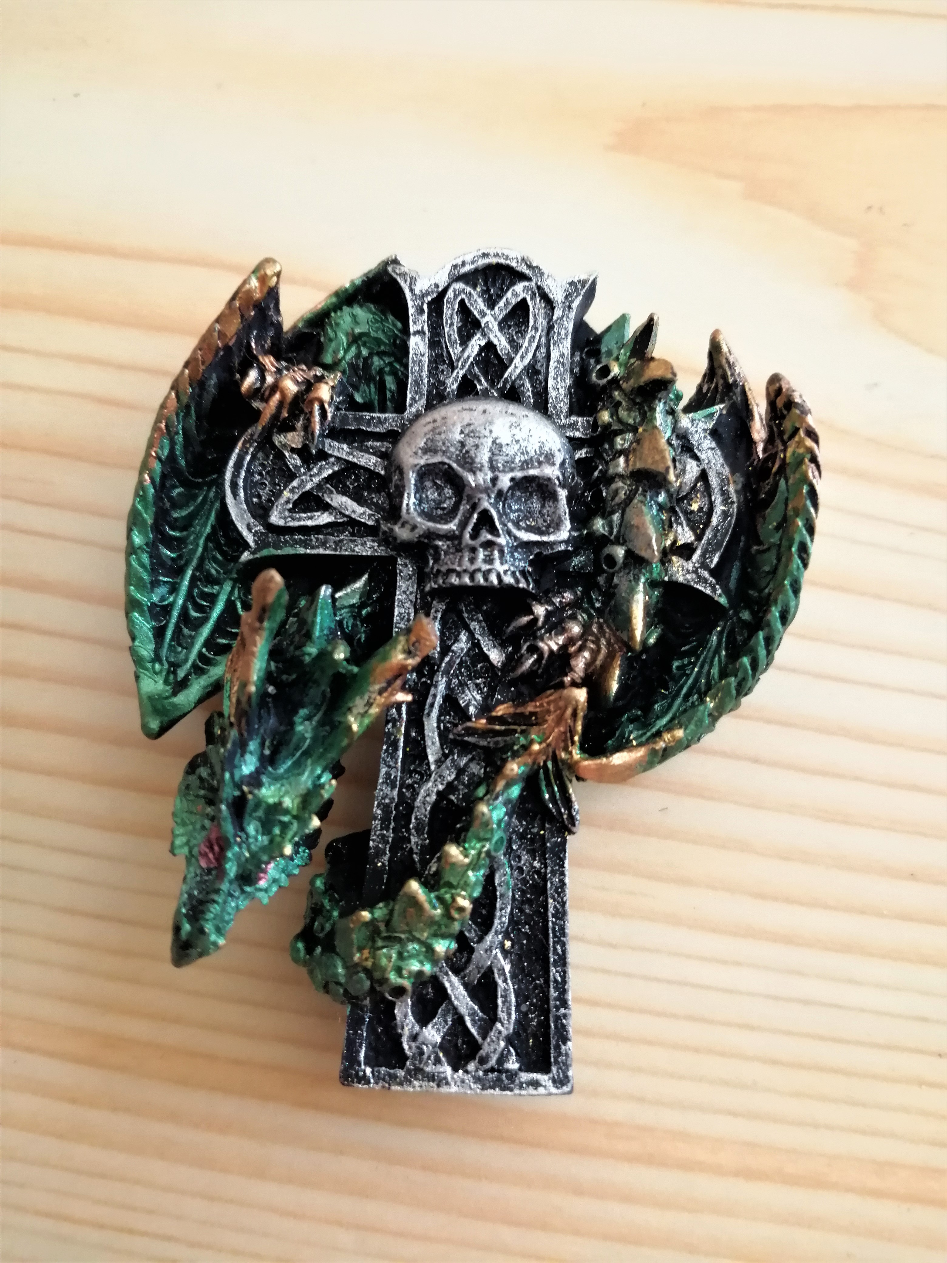 Green Dragon on Cross Fridge Magnet
