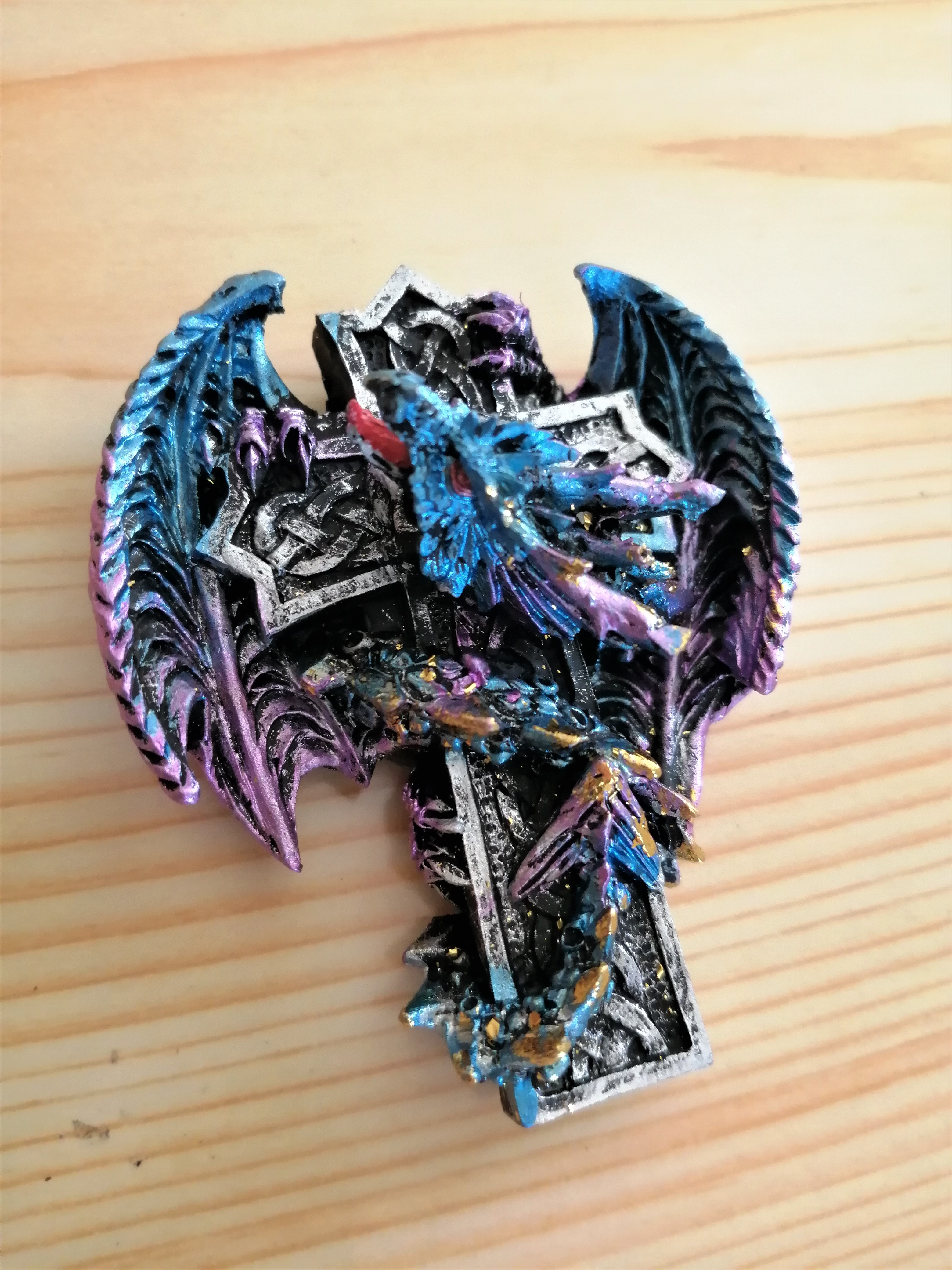 Blue Dragon on Cross Fridge Magnet
