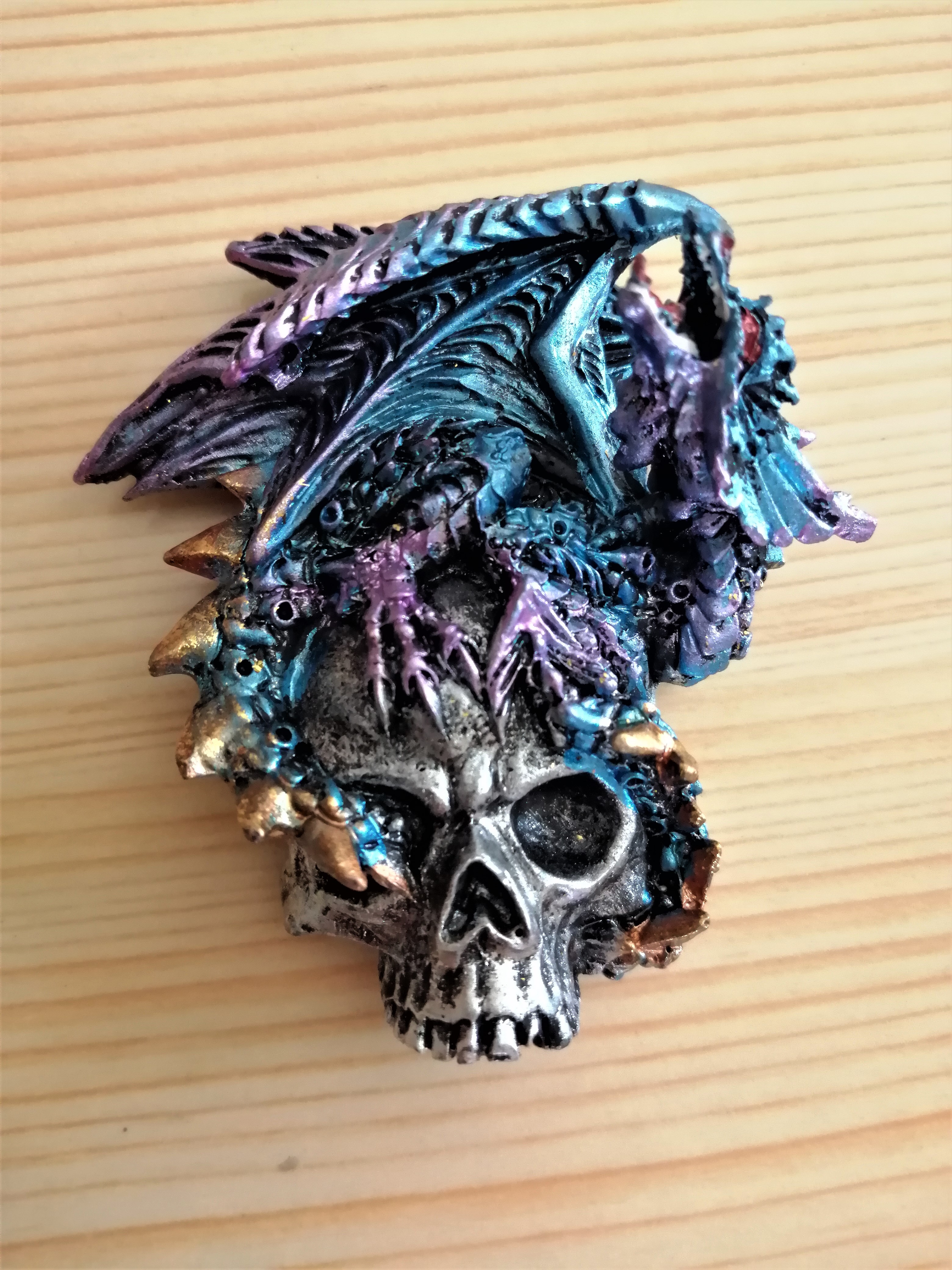 Blue Dragon on Skull Fridge Magnet