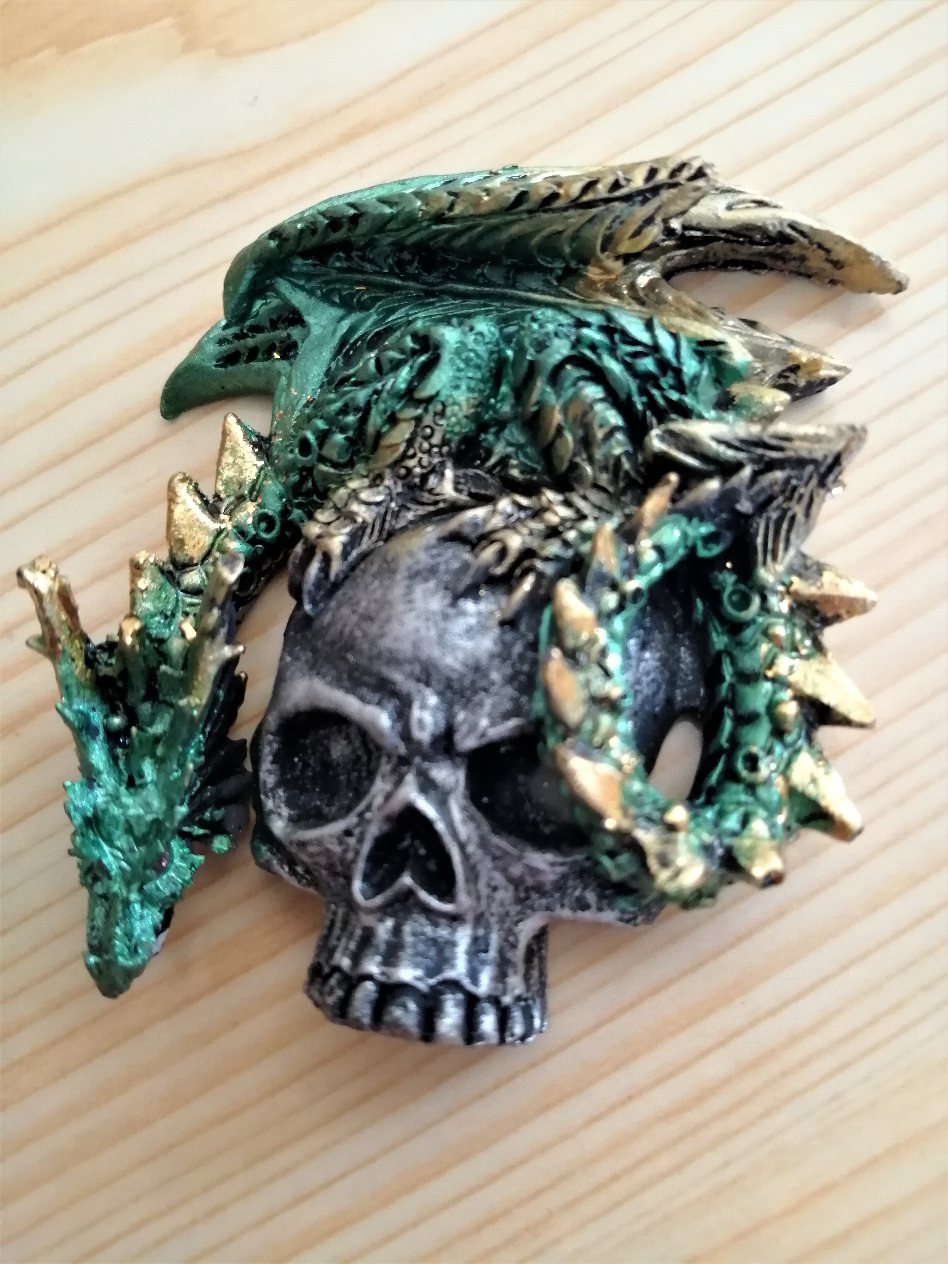 Green Dragon on Skull Fridge Magnet