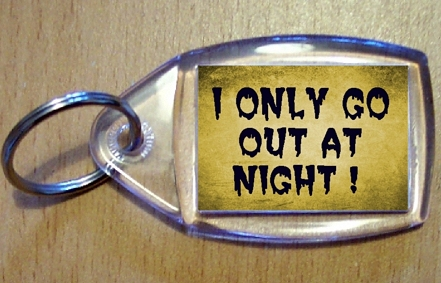 I Only Go Out At Night Keyring